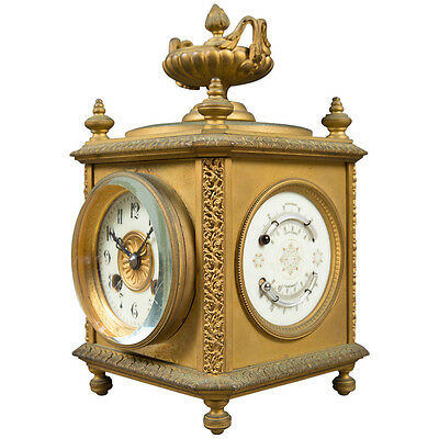 A French Gilt Bronze 8-day Four Face Mantle Clock w/ Date, Temperature & Baromet