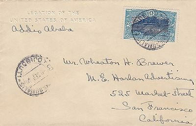 Stamp 1936 Somalia 1&1/2 franc on Legation of the United States America cover