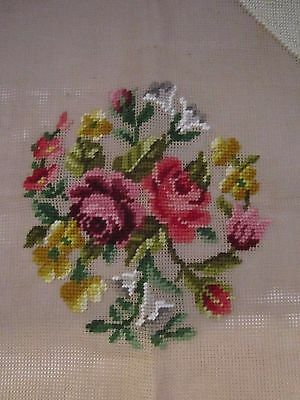 Vintage Embroidery Needlepoint Partial Bucilla. Canvas. Chair Cover. Floral Rose