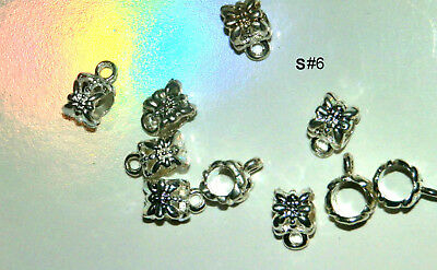 10 EUROPEAN SILVER PLATED TONE BAIL BEADS SPACERS CONNECTORS FOR CHARMS 11 x 8mm