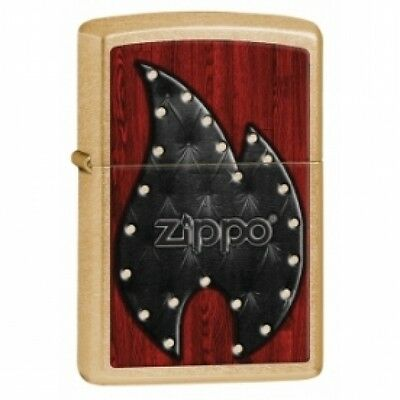 Zippo Leather Flame Gold Dust Lighter Brand New