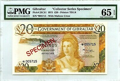 Money Gibraltar Pound 20 Specimen Pmg Gem Unc Pick #23Cs1 Value $700