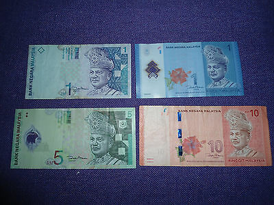 Malaysian banknotes x 4 - 1/5/10 Ringgit paper & polymer notes Malaysia RM