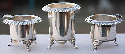 3p Antique Vintage ROMANA 900 Sterling Silver SMOKING SET 108g Ashtray Match Hol