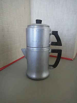 2 Cup WEAR-EVER 3042 ALUMINUM Percolator Coffee Pot USA Bakelite Handles