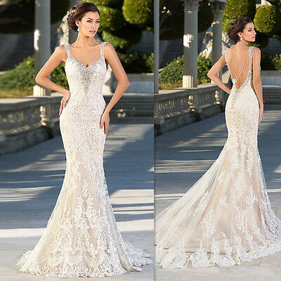 Champagne Lace Backless Country Wedding Dresses Long Mermaid Bridal Gowns 2017