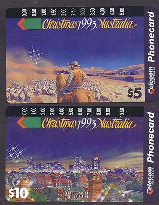 *PHONECARDS.USED.CHRISTMAS 1993.SET of TWO.One hole.*