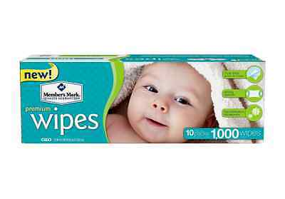 Baby Wipes Unscented Member's Mark 1000 ct. Case Thick Hypoallergenic Adult Wet