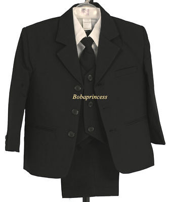 #501 NEW BOY (Sz 8/10/12/14/16) FORMAL 5 PCS SUIT BLACK, Wedding/Party Event