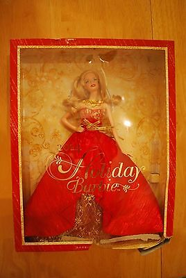 Holiday Barbie Doll Christmas 2014 Blonde Collector Set New in Damaged Box