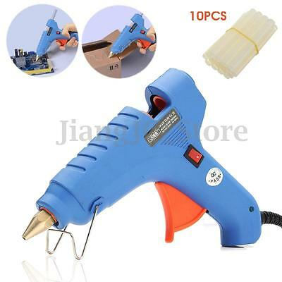 60W Mini Electric Heating Hot Melt Glue Gun Scrapbooking Tool 10pcs Glue Sticks