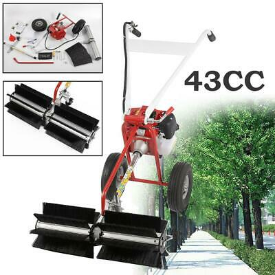 "52cc Gas Power Broom Walk Behind Sweeper Hand Held Cleaning Driveway 14"" Wide CE"
