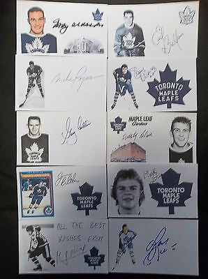 Toronto Maple Leafs 10 Autographed 3x5 Index Cards Lot N
