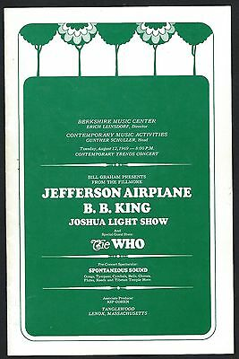 Rare Bill Graham Fillmore Tanglewood Program With Green Woodstock Ticket Order