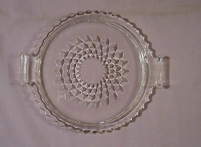 Jeannette Glass Cubist Cube Round Vanity Tray Platter w/ Handles