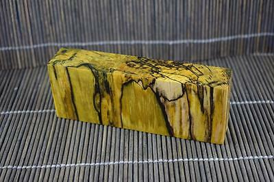 Cross Cut Stabilized Spalted Maple Knife Scales Block (Yellow)