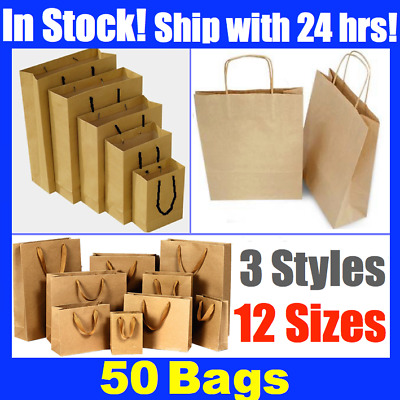 50 Brown Craft Paper Gift Carry Bags Bulk Small Medium Extra Large