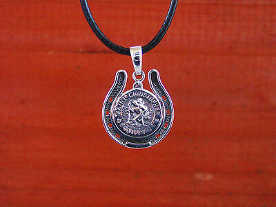 """St. Christopher in Horse Shoe Pendant with 16"""" to 19"""" adjustable Black Cord"""