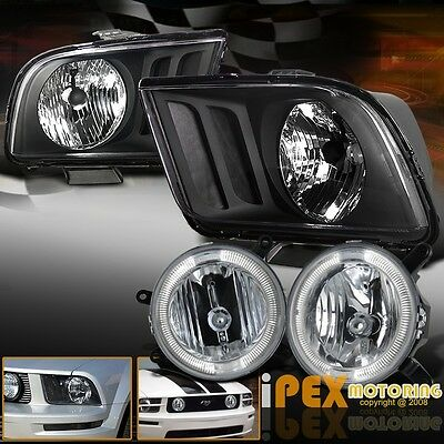 New 2005-2009 Ford Mustang GT Black Headlights + Halo Fog Lights For Front Grill