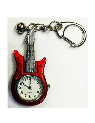 Red Guitar Quartz Watch Keyring, NEW