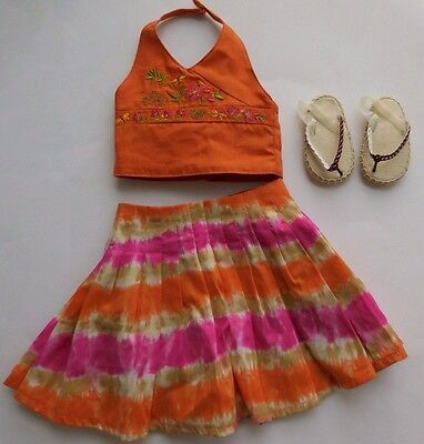 American Girl Doll JESS MCCONNELL MEET OUTFIT Top Skirt Slippers Flip Flops