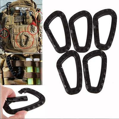 5Pcs Key Chain D-Ring Buckle Clip Hook  Outdoor Carabiner Snap Plastic Camping