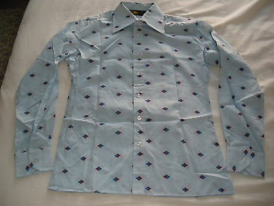Vintage 1960/70s Dickens Men's Fitted  Print Shirt Small  New