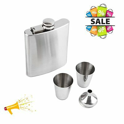 7oz Stainless Steel Hip Flask Funnel Cups Set Drink Bottle Gift New Gift D#