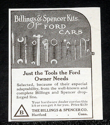 1914 Old Magazine Print Ad, Billings & Spencer Kits, The Tools Ford Owners Need!