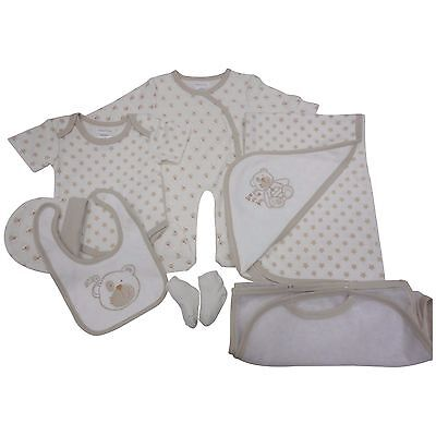 Baby Boy Girl Neutral Teddy 7 Piece Layette Clothing Gift Set by Pitter Patter