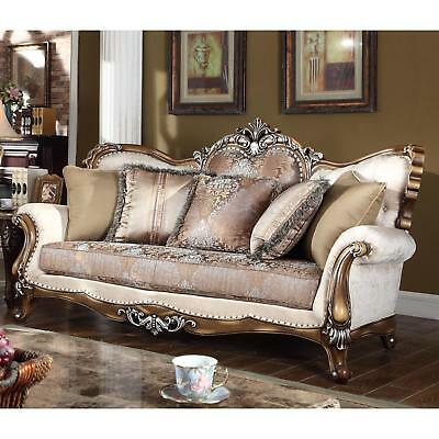 Meridian 603 Sandro Living Room Sofa in Cream Hand Carved Traditional Style