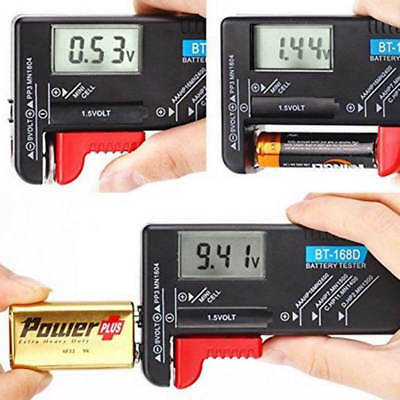 Universal Digital AA/AAA/C/D/9V/1.5V Button Cell Battery Checker Volt Tester