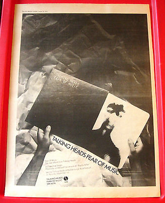 Talking Heads Fear Of Music Vintage ORIG 1979 Press/Magazine ADVERT Poster-Size