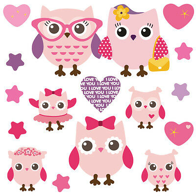 Children's Cute Pink Owl Wall Stickers PinkyFamily Owls.1.M