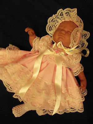 Dream Baby Pink & Cream X Frilly Lined Dress & Bonnet Nb 0-3 Months Or Reborn