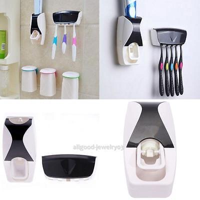 Wall Mounted Toothpaste Dispenser Automatic 5 Toothbrush Holder Set Bathroom