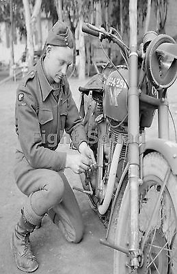 WW2 Picture Photo 1944 RASC despatch rider with Matchless G3 motorcycle  1547