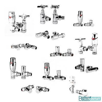 15mm Radiator Valves Angled & Straight Thermostatic & Manual Brass