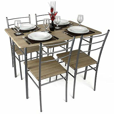 5pc Modern Dining Room Table And 4 Chairs Set Kitchen Breakfast Furniture Wooden