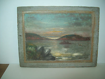 oil painting on board signed harbor seaport landscape sunset natical home decor