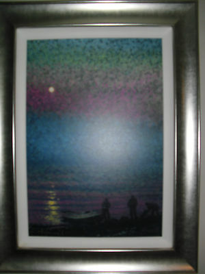 A  Framed Rolf Harris Limited Edition Print . Fishermen By Moonlight. Cost £650