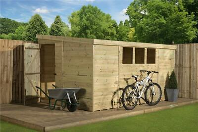 Shed 10X6 Pent Pressure Treated Tongue And Groove 3 Low Windows Door Left End