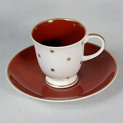 Susie Cooper Demitasse Cup & Saucer - White/deep Red/rust With Gold Stars