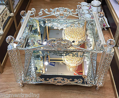Glossy Mirror Metal lace Serving Table Dining Side Table Furniture Wedding