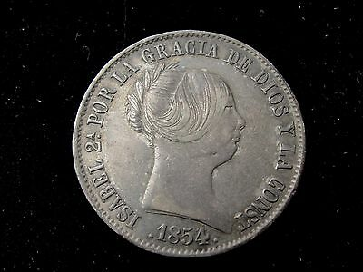 1854 M Spain 10 Reales Silver Coin Looks XF Km #595.2