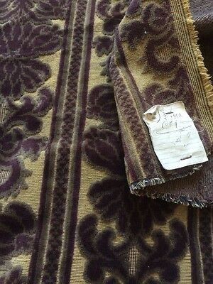 Antique French Woven Cut Velvet Brocade Fabric Fragment Art Nouveau Collectors