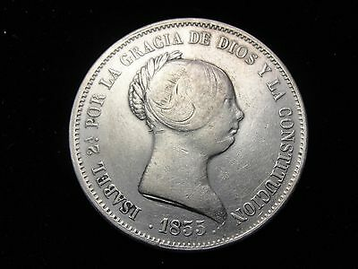 1855 Spain 20 Reales Silver Coin Looks VF Km #593.2