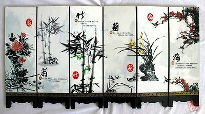 Chinese Boutique collection Lacquer ware painting four gentlemen folding screen