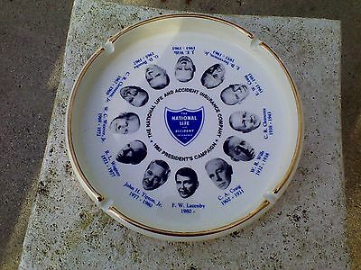 National Life & Accident Insurance US Presidents Campaign Ashtray Vtg 1982