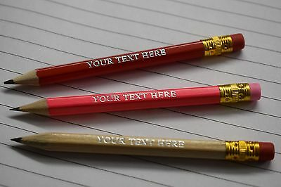 Personalised Printed Short Pencils With Eraser, Any Name, Text Or Message, Golf
